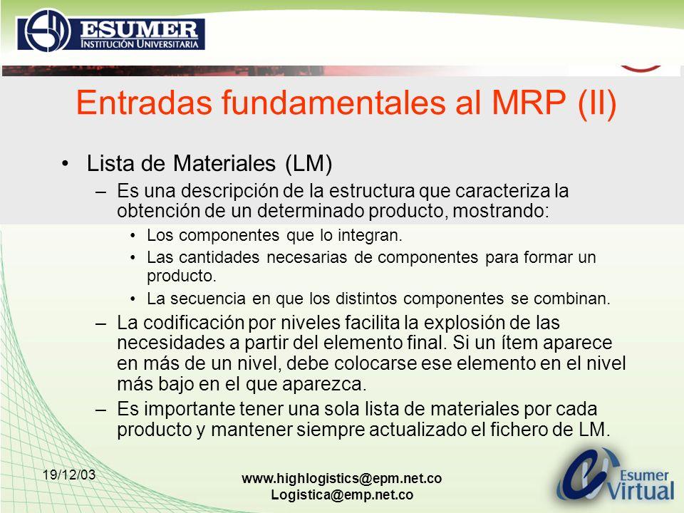 19/12/03 www.highlogistics@epm.net.co Logistica@emp.net.co Entradas fundamentales al MRP (II) Lista de Materiales (LM) –Es una descripción de la estru