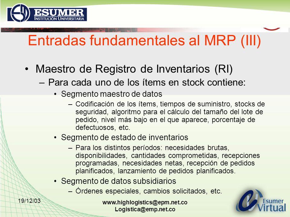 19/12/03 www.highlogistics@epm.net.co Logistica@emp.net.co Entradas fundamentales al MRP (III) Maestro de Registro de Inventarios (RI) –Para cada uno