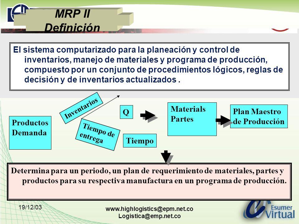 19/12/03 www.highlogistics@epm.net.co Logistica@emp.net.co MRP II Definición El sistema computarizado para la planeación y control de inventarios, man