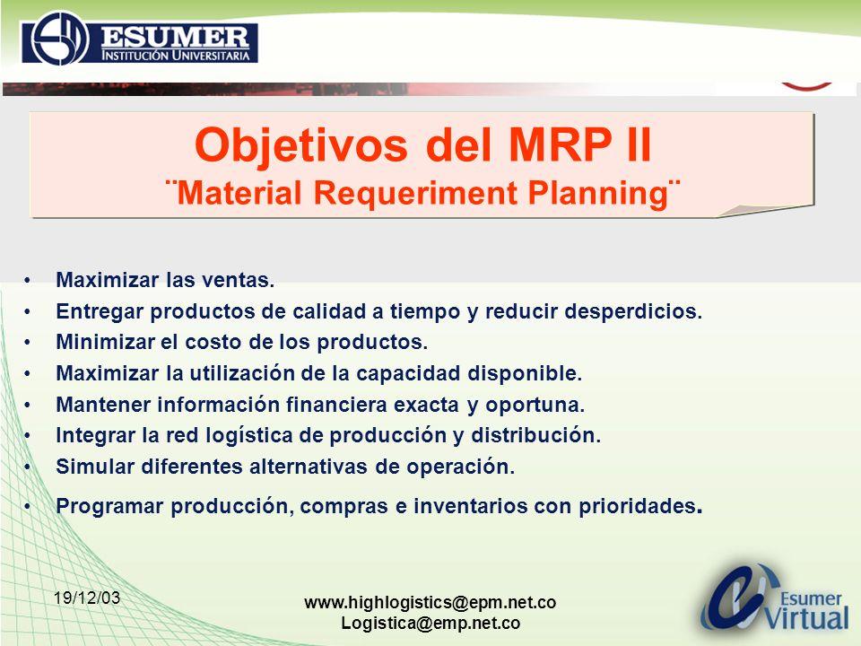 19/12/03 www.highlogistics@epm.net.co Logistica@emp.net.co Objetivos del MRP II ¨Material Requeriment Planning¨ Maximizar las ventas. Entregar product