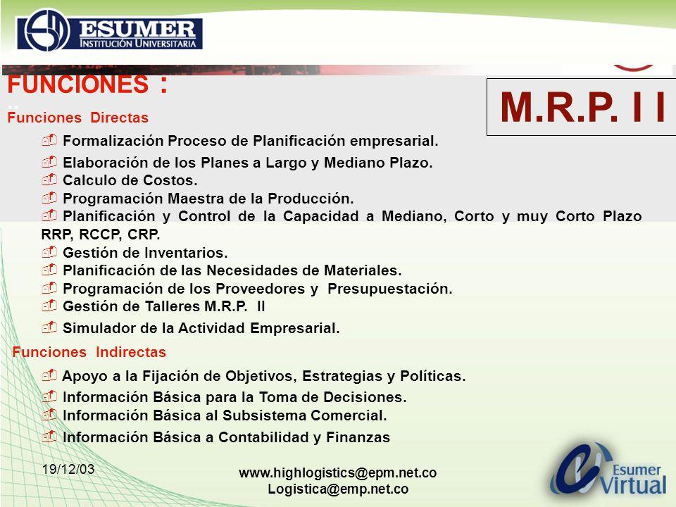 19/12/03 www.highlogistics@epm.net.co Logistica@emp.net.co FUNCIONES :.. Funciones Directas Formalización Proceso de Planificación empresarial. Elabor