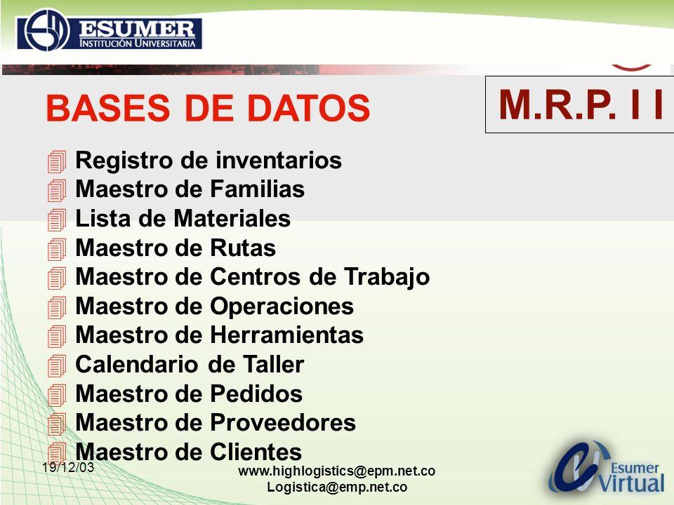 19/12/03 www.highlogistics@epm.net.co Logistica@emp.net.co BASES DE DATOS Registro de inventarios Maestro de Familias Lista de Materiales Maestro de R