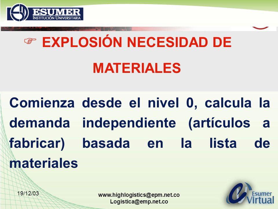 19/12/03 www.highlogistics@epm.net.co Logistica@emp.net.co EXPLOSIÓN NECESIDAD DE MATERIALES Comienza desde el nivel 0, calcula la demanda independien