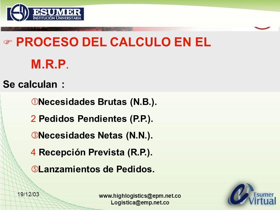 19/12/03 www.highlogistics@epm.net.co Logistica@emp.net.co PROCESO DEL CALCULO EN EL M.R.P. Se calculan : Necesidades Brutas (N.B.). 2 Pedidos Pendien