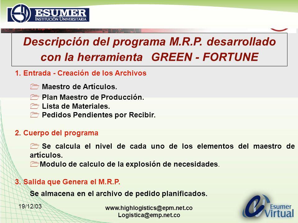19/12/03 www.highlogistics@epm.net.co Logistica@emp.net.co Descripción del programa M.R.P. desarrollado con la herramienta GREEN - FORTUNE 1. Entrada