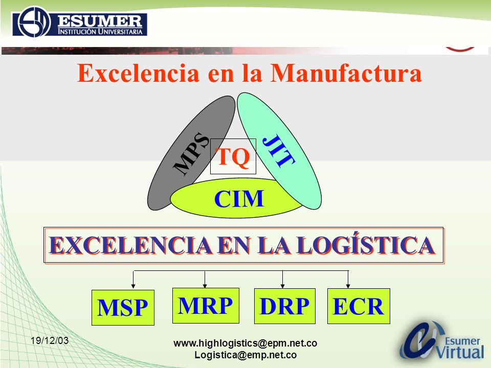 19/12/03 www.highlogistics@epm.net.co Logistica@emp.net.co Excelencia en la Manufactura MPS CIM JIT TQ EXCELENCIA EN LA LOGÍSTICA MSP MRP DRP ECR