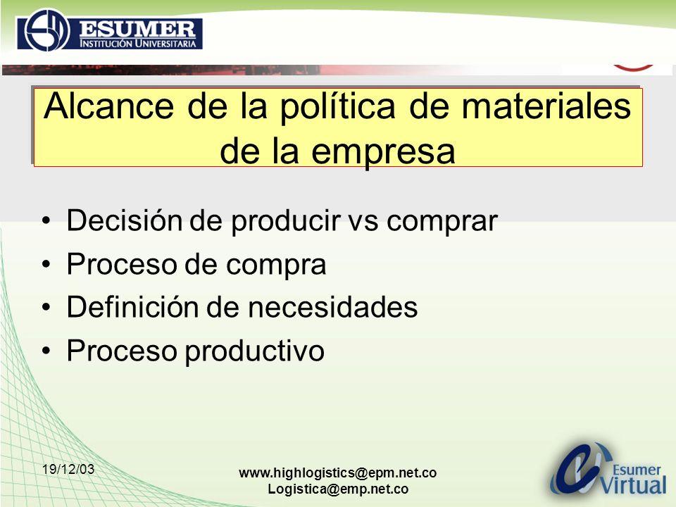 19/12/03 www.highlogistics@epm.net.co Logistica@emp.net.co Alcance de la política de materiales de la empresa Decisión de producir vs comprar Proceso