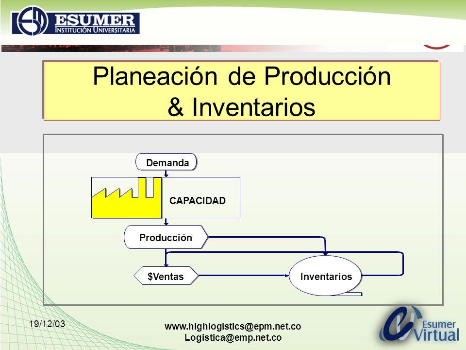 19/12/03 www.highlogistics@epm.net.co Logistica@emp.net.co Planeación de Producción & Inventarios Demanda CAPACIDAD Producción $VentasInventarios