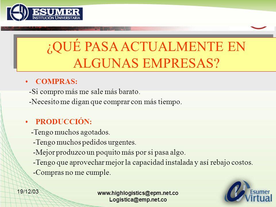19/12/03 www.highlogistics@epm.net.co Logistica@emp.net.co COMPRAS: -Si compro más me sale más barato. -Necesito me digan que comprar con más tiempo.