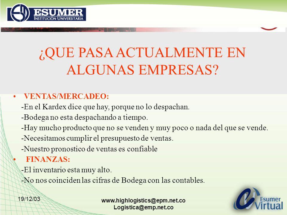19/12/03 www.highlogistics@epm.net.co Logistica@emp.net.co VENTAS/MERCADEO: -En el Kardex dice que hay, porque no lo despachan. -Bodega no esta despac