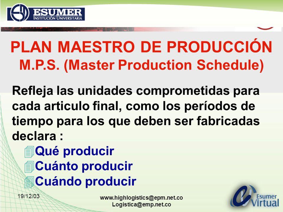 19/12/03 www.highlogistics@epm.net.co Logistica@emp.net.co PLAN MAESTRO DE PRODUCCIÓN M.P.S. (Master Production Schedule) Refleja las unidades comprom