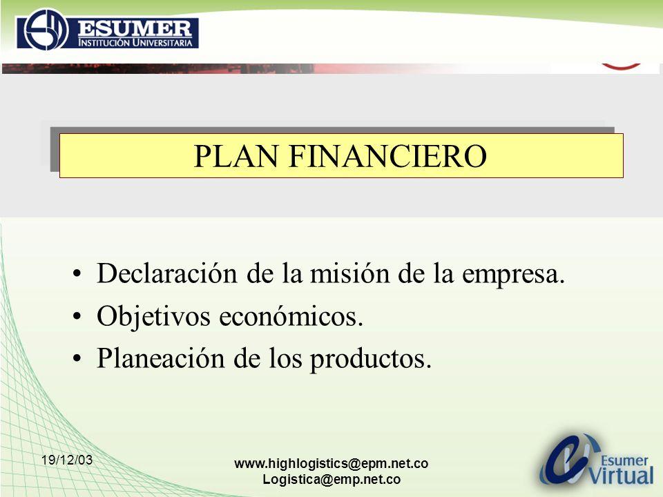 19/12/03 www.highlogistics@epm.net.co Logistica@emp.net.co PLAN FINANCIERO Declaración de la misión de la empresa. Objetivos económicos. Planeación de