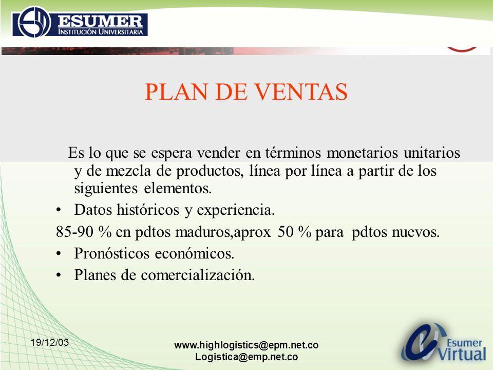 19/12/03 www.highlogistics@epm.net.co Logistica@emp.net.co PLAN DE VENTAS Es lo que se espera vender en términos monetarios unitarios y de mezcla de p