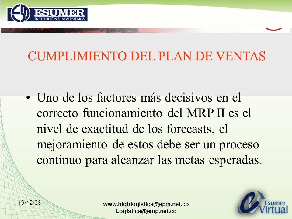19/12/03 www.highlogistics@epm.net.co Logistica@emp.net.co CUMPLIMIENTO DEL PLAN DE VENTAS Uno de los factores más decisivos en el correcto funcionami