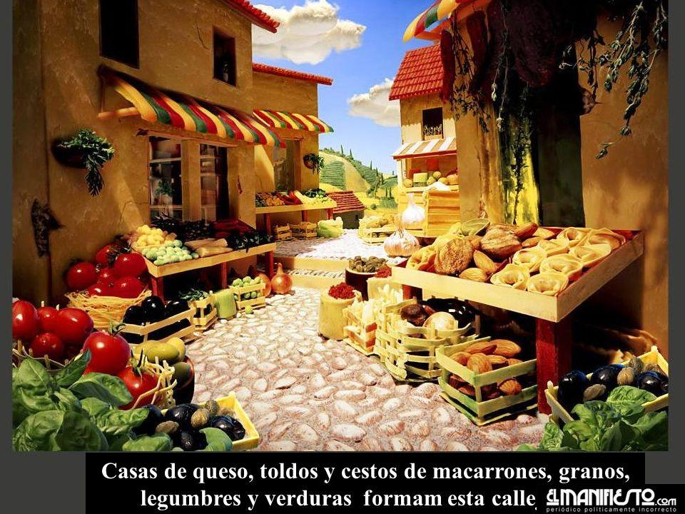 Casas de queso, toldos y cestos de macarrones, granos, legumbres y verduras formam esta callejuela.