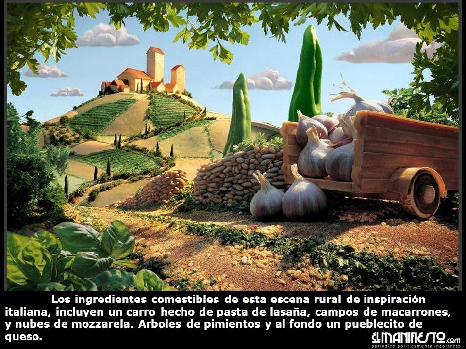 Los ingredientes comestibles de esta escena rural de inspiración italiana, incluyen un carro hecho de pasta de lasaña, campos de macarrones, y nubes de mozzarela.