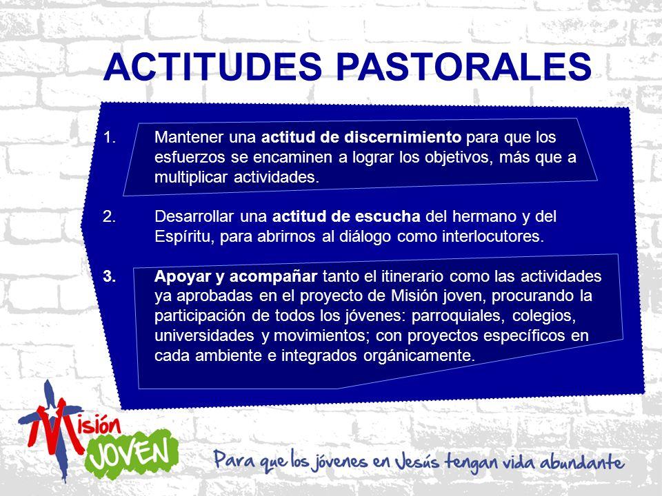 ACTITUDES PASTORALES 1.Mantener una actitud de discernimiento para que los esfuerzos se encaminen a lograr los objetivos, más que a multiplicar actividades.