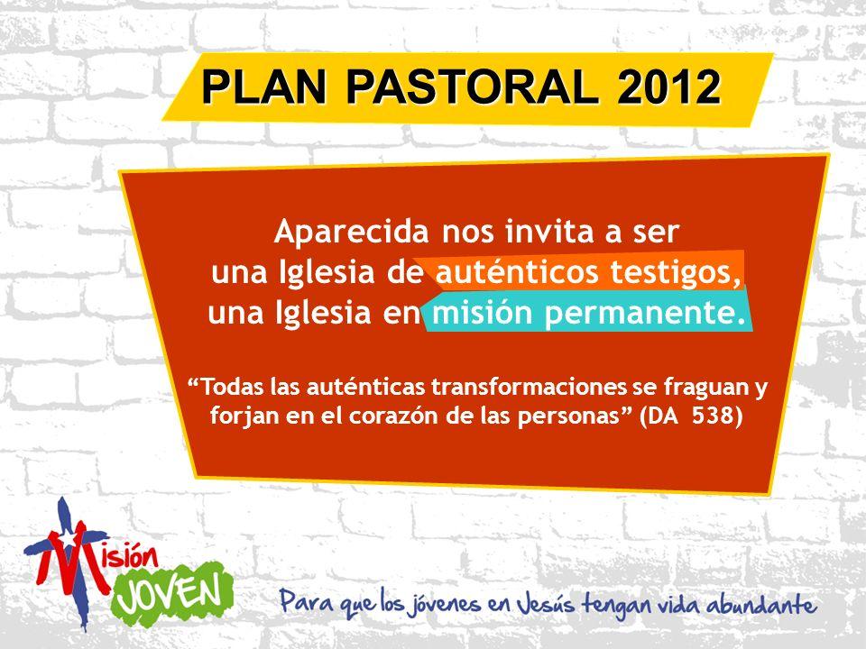PLAN PASTORAL 2012 Aparecida nos invita a ser una Iglesia de auténticos testigos, una Iglesia en misión permanente.
