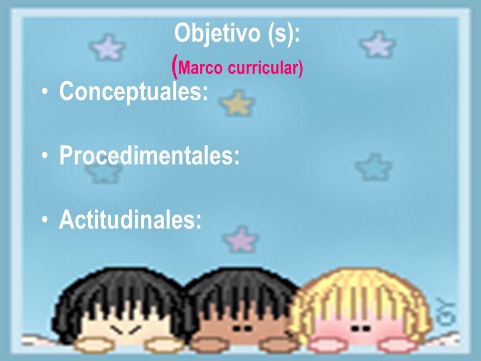 Objetivo (s): ( Marco curricular) Conceptuales: Procedimentales: Actitudinales: