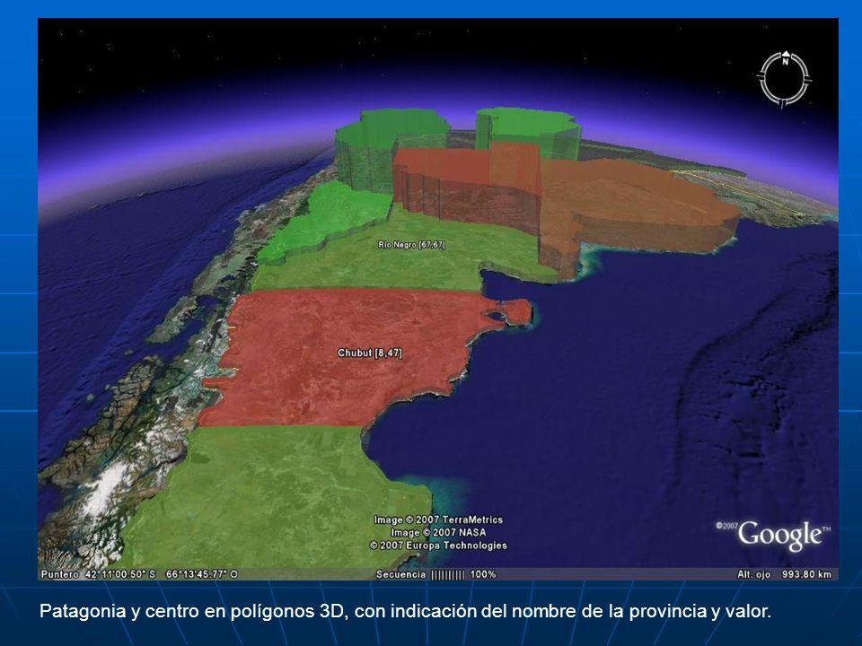 Patagonia y centro en polígonos 3D, con indicación del nombre de la provincia y valor.