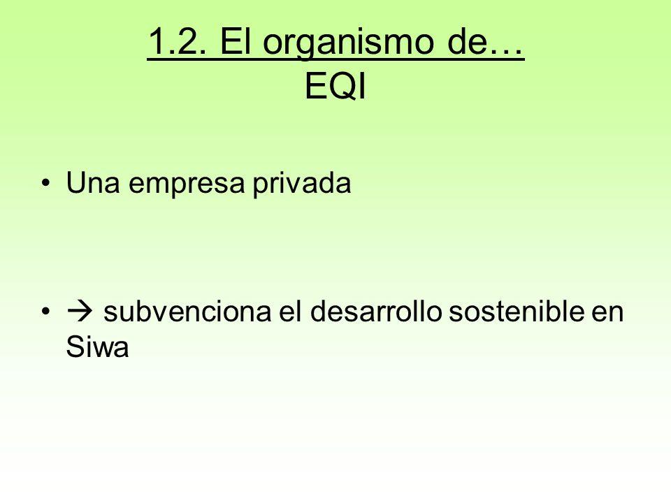 1.2. El organismo de… EQI Una empresa privada subvenciona el desarrollo sostenible en Siwa