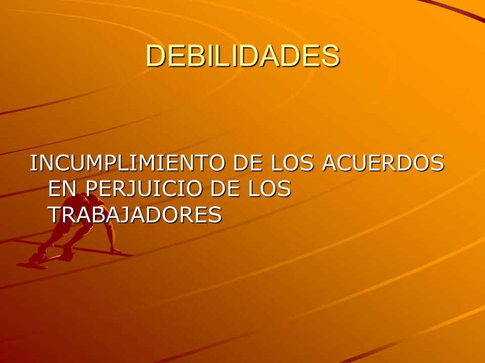 DEBILIDADES INCUMPLIMIENTO DE LOS ACUERDOS EN PERJUICIO DE LOS TRABAJADORES