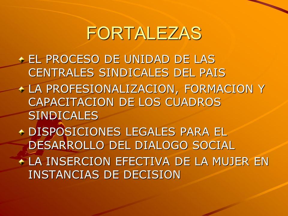 FORTALEZAS EL PROCESO DE UNIDAD DE LAS CENTRALES SINDICALES DEL PAIS LA PROFESIONALIZACION, FORMACION Y CAPACITACION DE LOS CUADROS SINDICALES DISPOSI