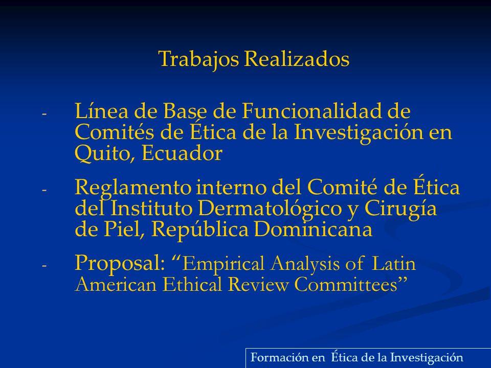 - Línea de Base de Funcionalidad de Comités de Ética de la Investigación en Quito, Ecuador - Reglamento interno del Comité de Ética del Instituto Derm
