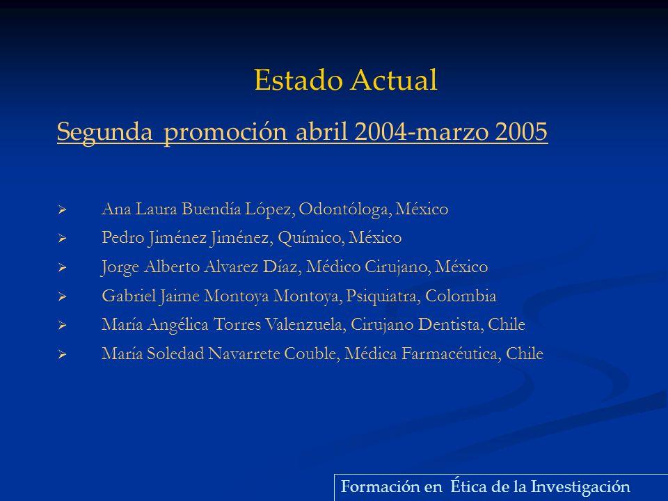 Segunda promoción abril 2004-marzo 2005 Ana Laura Buendía López, Odontóloga, México Pedro Jiménez Jiménez, Químico, México Jorge Alberto Alvarez Díaz,