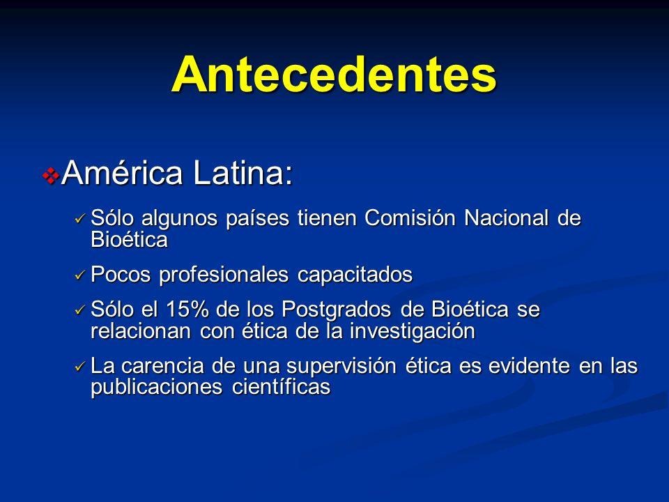 Antecedentes América Latina: América Latina: Sólo algunos países tienen Comisión Nacional de Bioética Sólo algunos países tienen Comisión Nacional de