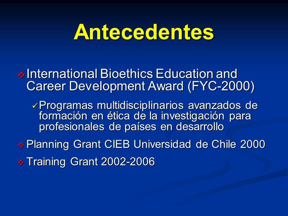 Antecedentes International Bioethics Education and Career Development Award (FYC-2000) International Bioethics Education and Career Development Award