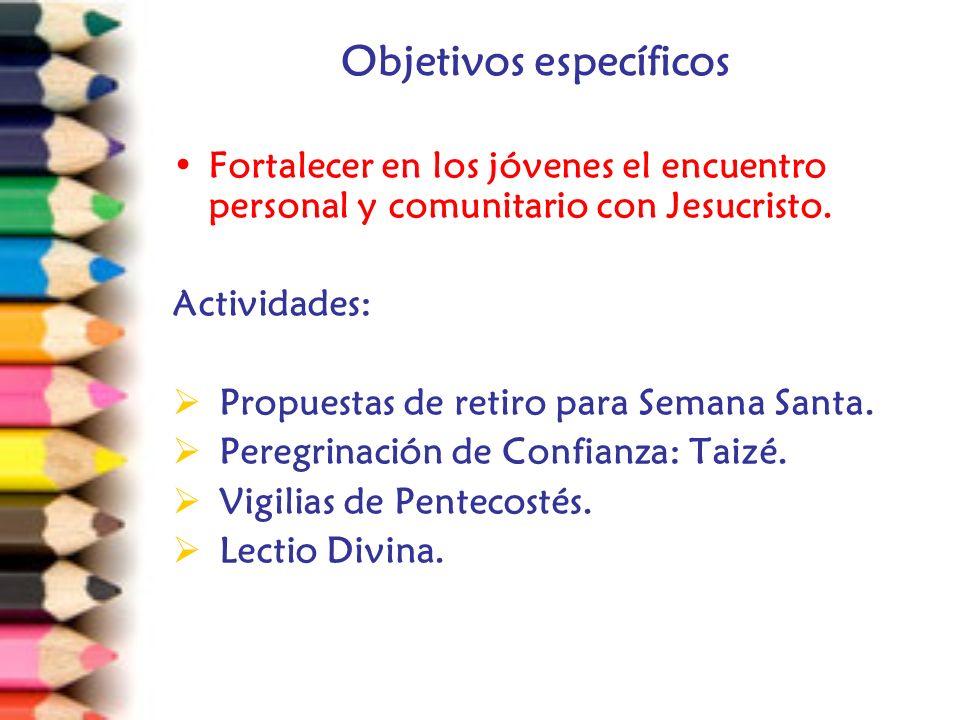 Objetivos específicos Fortalecer en los jóvenes el encuentro personal y comunitario con Jesucristo.
