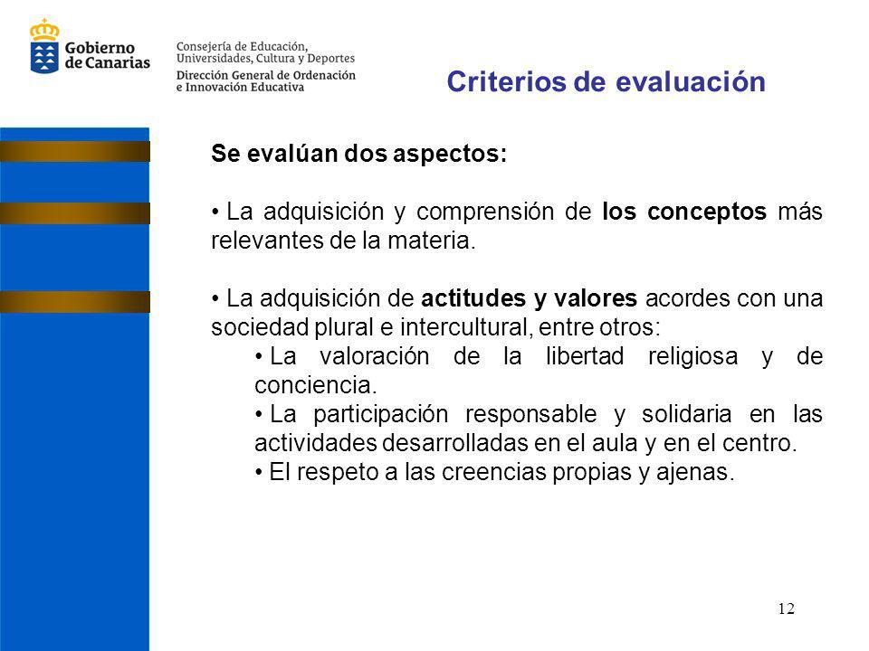 12 Criterios de evaluación Se evalúan dos aspectos: La adquisición y comprensión de los conceptos más relevantes de la materia.