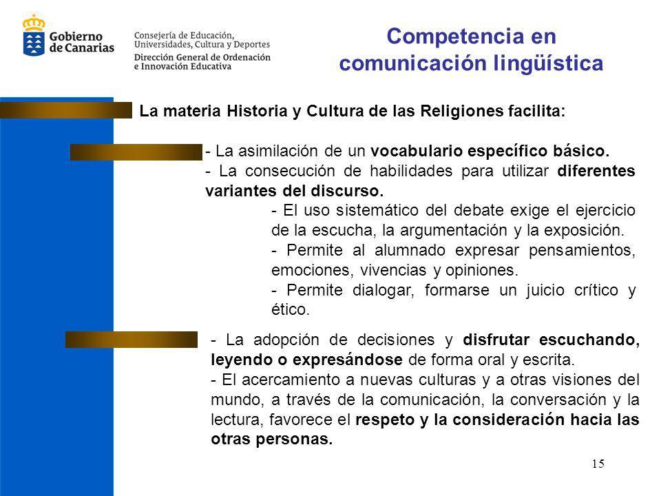 15 Competencia en comunicación lingüística La materia Historia y Cultura de las Religiones facilita: - La asimilación de un vocabulario específico bás