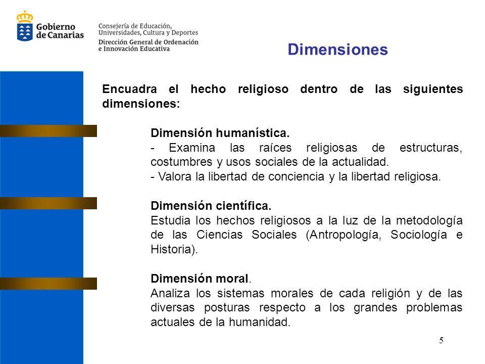 5 Dimensiones Encuadra el hecho religioso dentro de las siguientes dimensiones: Dimensión humanística. - Examina las raíces religiosas de estructuras,