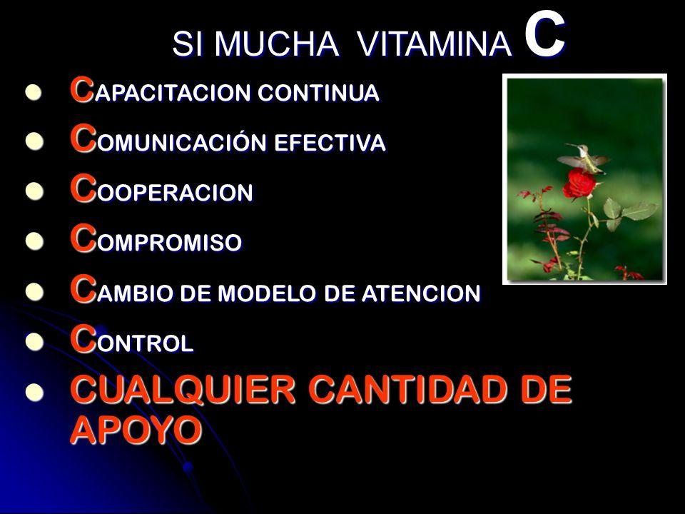 SI MUCHA VITAMINA C CAPACITACION CONTINUA COMUNICACIÓN EFECTIVA COOPERACION COMPROMISO CAMBIO DE MODELO DE ATENCION CONTROL CUALQUIER CANTIDAD DE APOY