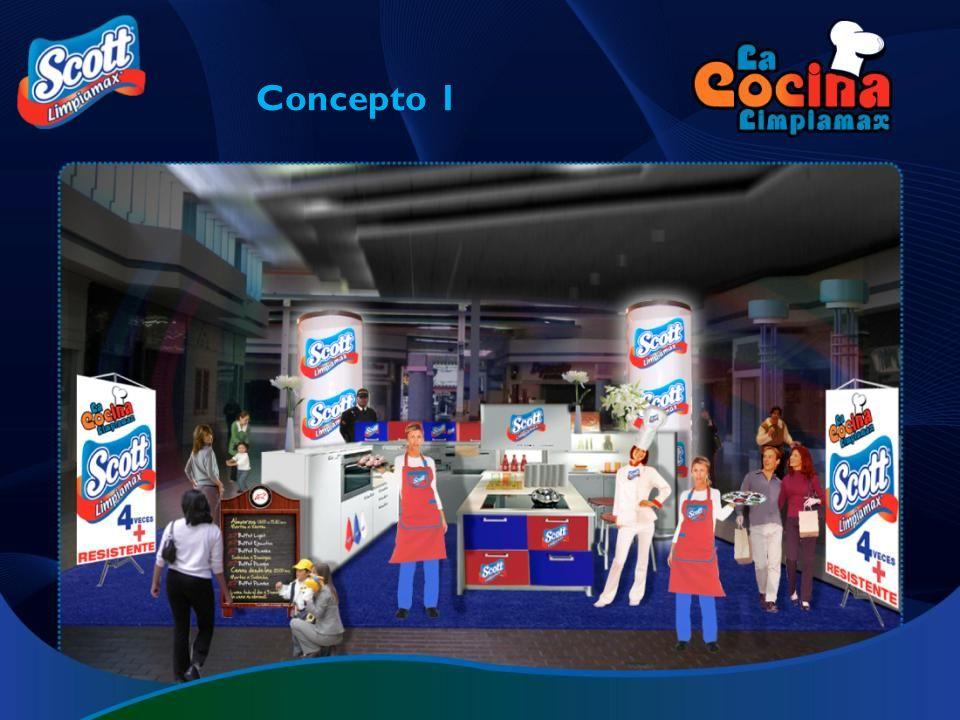 Stand tipo isla que recrea una cocina de estilo moderno y que contiene detalles con los colores corporativos de la marca.