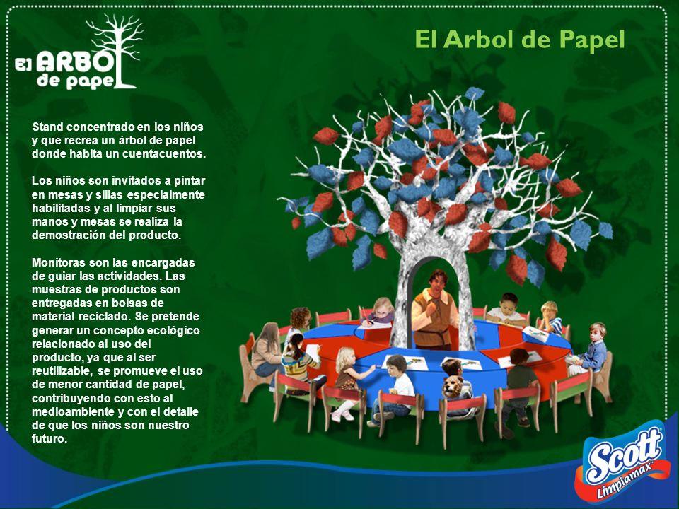 Stand concentrado en los niños y que recrea un árbol de papel donde habita un cuentacuentos. Los niños son invitados a pintar en mesas y sillas especi