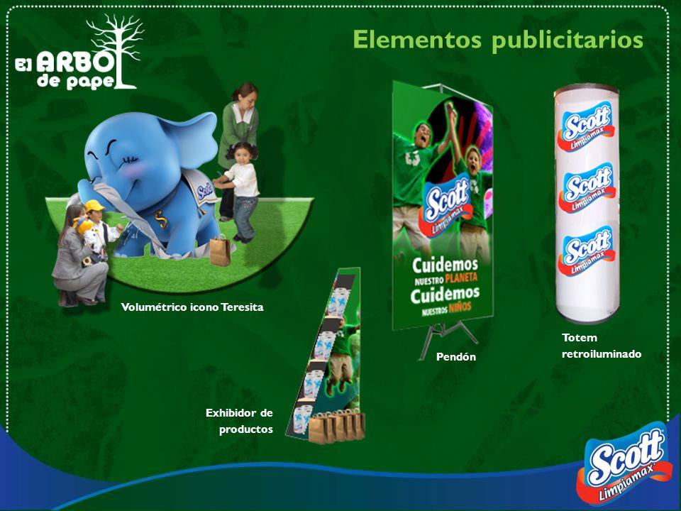 Elementos publicitarios Volumétrico icono Teresita Exhibidor de productos Pendón Totem retroiluminado