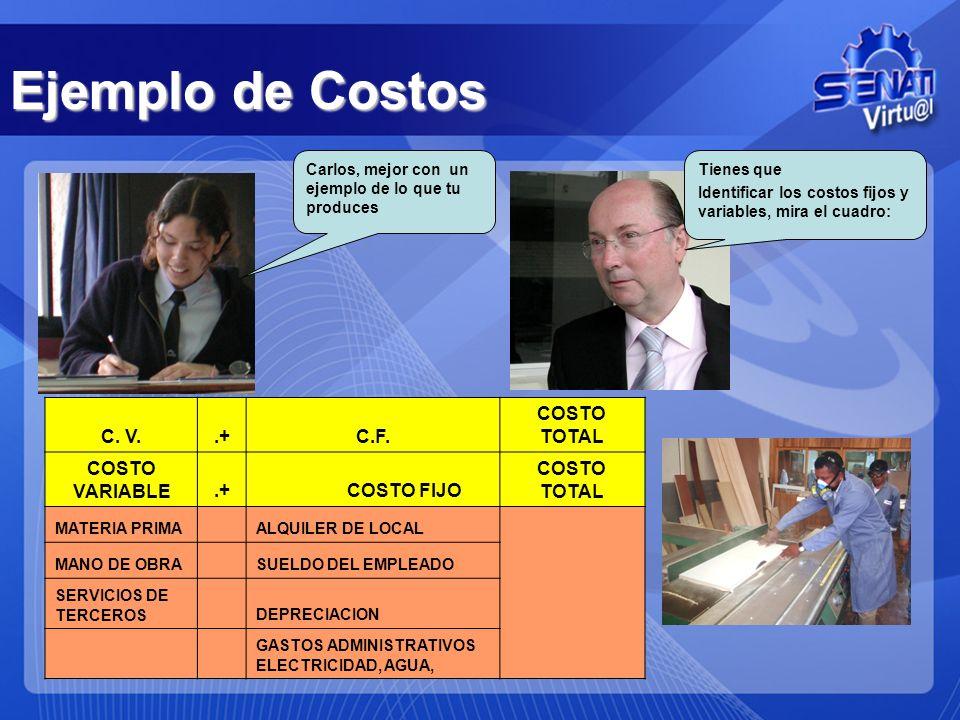 Ejemplo de Costos Carlos, mejor con un ejemplo de lo que tu produces C. V..+C.F. COSTO TOTAL COSTO VARIABLE.+ COSTO FIJO COSTO TOTAL MATERIA PRIMA ALQ