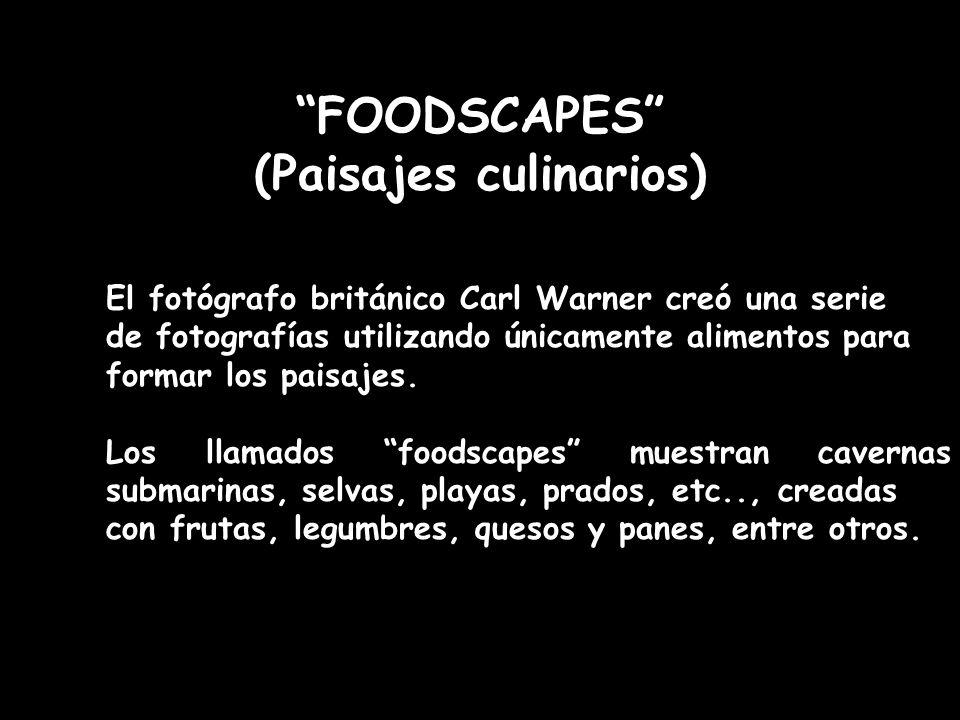 FOODSCAPES (Paisajes culinarios) El fotógrafo británico Carl Warner creó una serie de fotografías utilizando únicamente alimentos para formar los pais