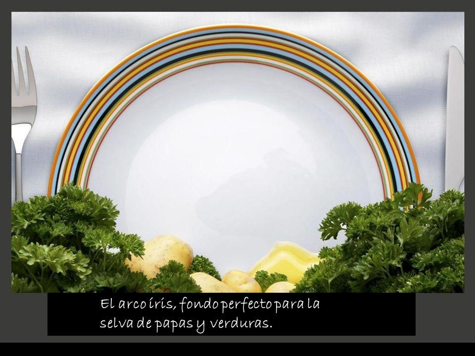 El arco íris, fondo perfecto para la selva de papas y verduras.