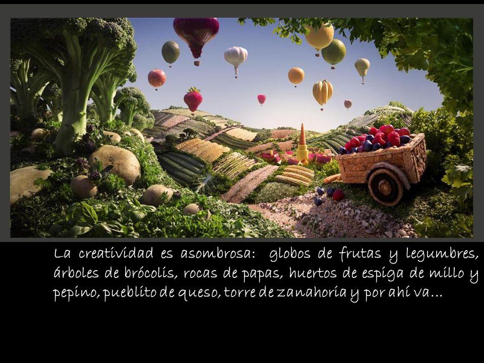 La creatividad es asombrosa: globos de frutas y legumbres, árboles de brócolis, rocas de papas, huertos de espiga de millo y pepino, pueblito de queso