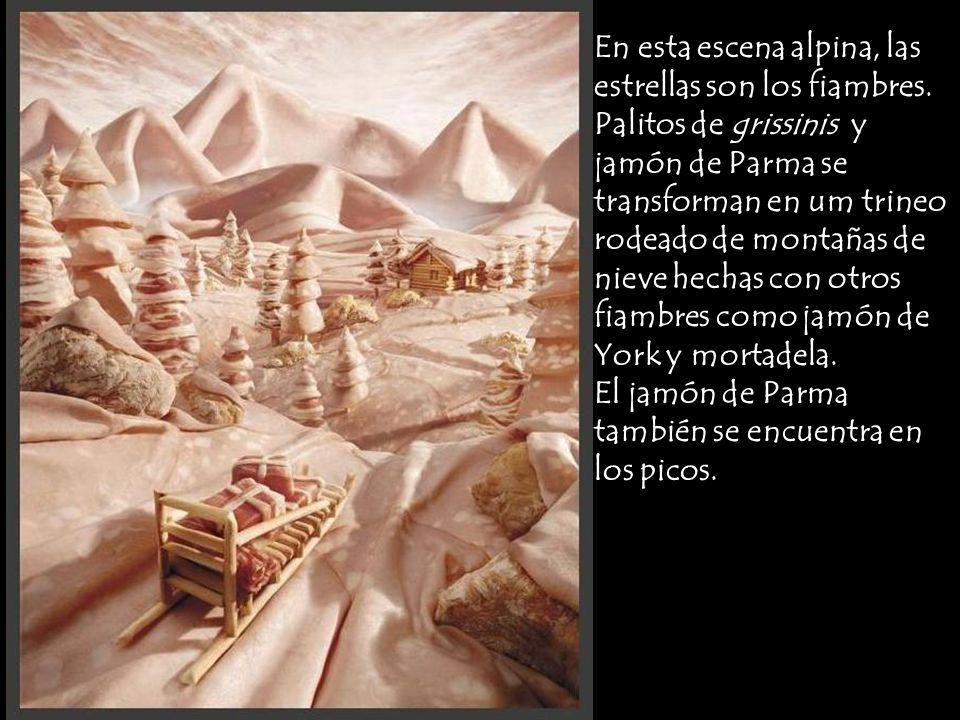 En esta escena alpina, las estrellas son los fiambres. Palitos de grissinis y jamón de Parma se transforman en um trineo rodeado de montañas de nieve