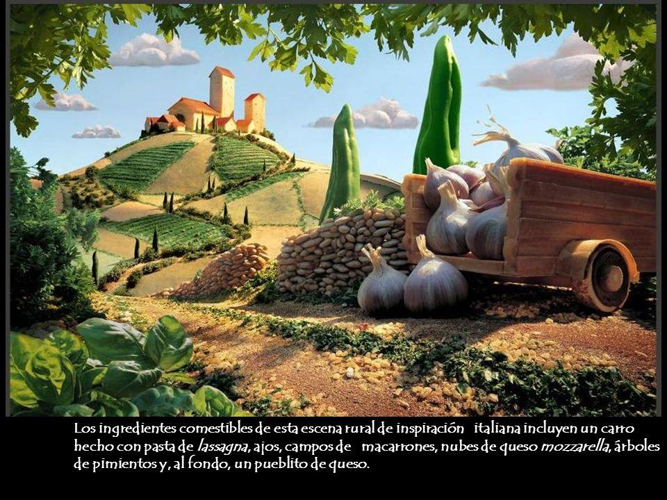 Los ingredientes comestibles de esta escena rural de inspiración italiana incluyen un carro hecho con pasta de lassagna, ajos, campos de macarrones, n