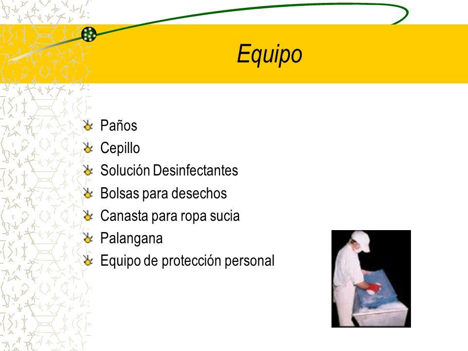 Paños Cepillo Solución Desinfectantes Bolsas para desechos Canasta para ropa sucia Palangana Equipo de protección personal Equipo