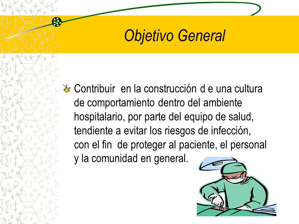 Objetivo General Contribuir en la construcción d e una cultura de comportamiento dentro del ambiente hospitalario, por parte del equipo de salud, tend