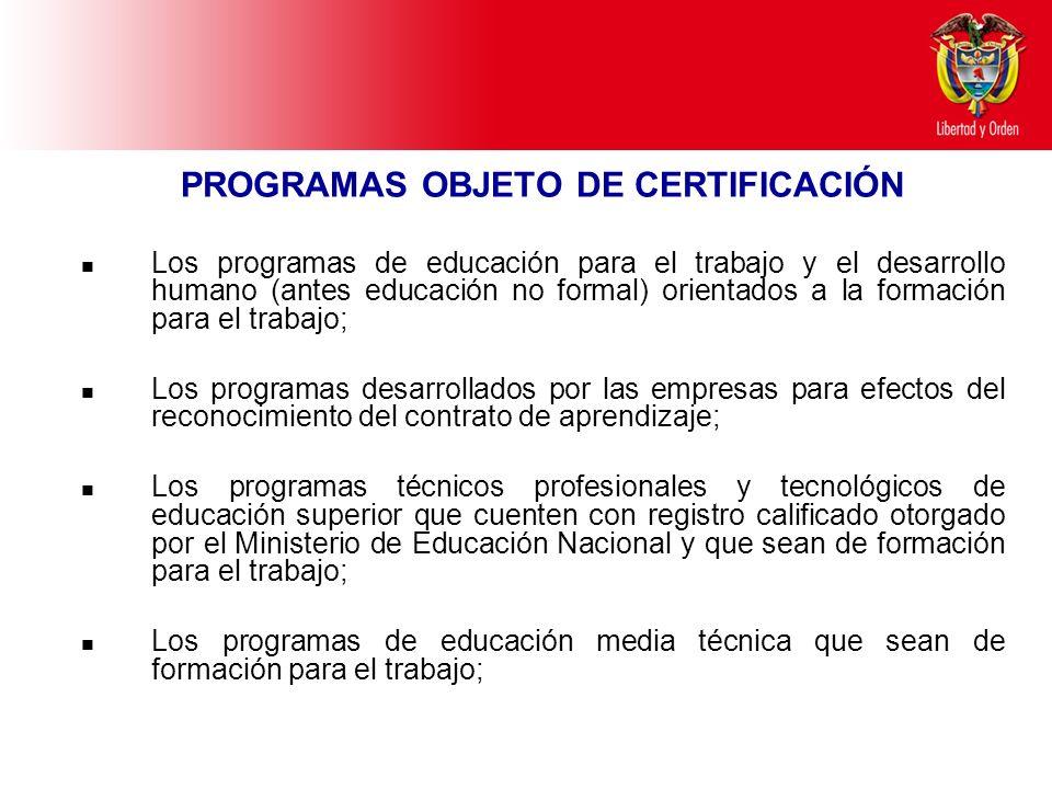 Ministerio de Educación Nacional República de Colombia PROGRAMAS OBJETO DE CERTIFICACIÓN Los programas de educación para el trabajo y el desarrollo hu