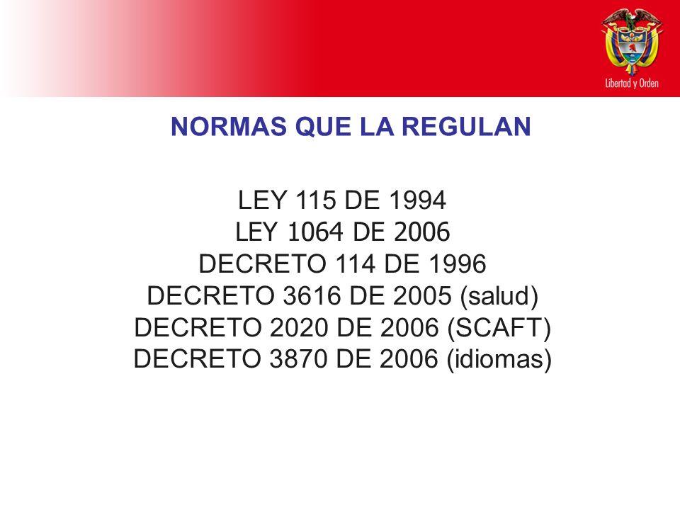 LEY 115 DE 1994 LEY 1064 DE 2006 DECRETO 114 DE 1996 DECRETO 3616 DE 2005 (salud) DECRETO 2020 DE 2006 (SCAFT) DECRETO 3870 DE 2006 (idiomas) NORMAS Q