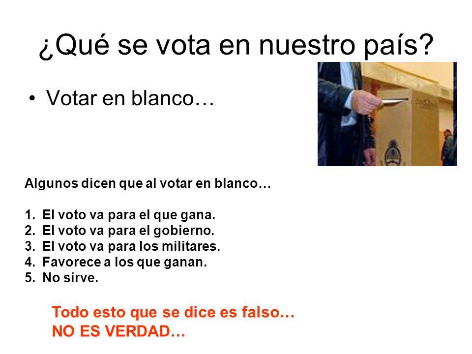 ¿Qué se vota en nuestro país? Votar en blanco… Algunos dicen que al votar en blanco… 1.El voto va para el que gana. 2.El voto va para el gobierno. 3.E